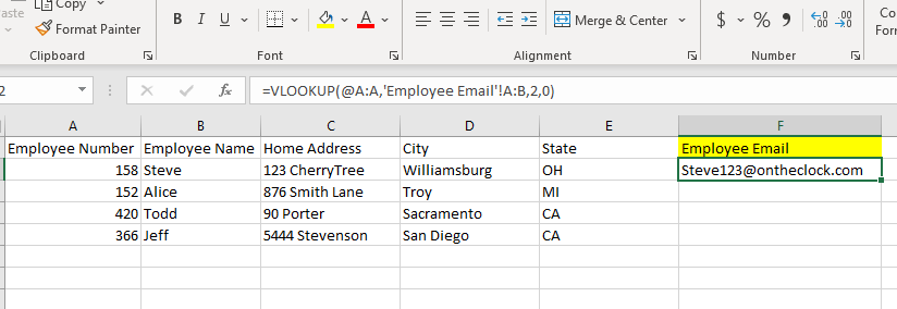 Vlookup Example