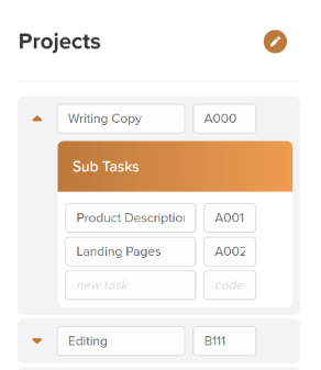 Choosing project and sub tasks